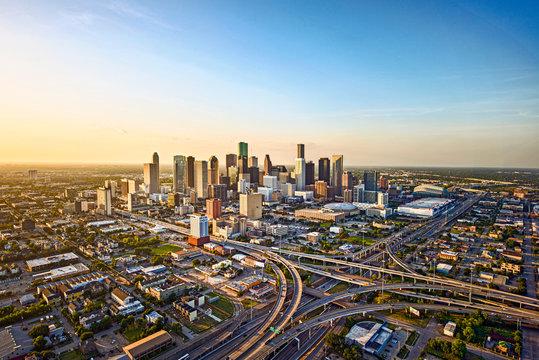 Aerial of Houston skyline