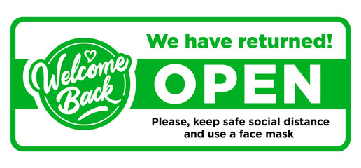 Fun sign on the front door - welcome back! We are open after quarantine due to COVID-19 (coronavirus). Keep social distance. Vector Fotobehang