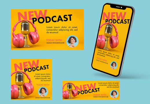 Podcast Social Media Layout Kit Witn Microphone and Headset Illustrations