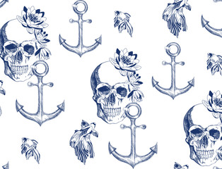 Vintage blue skull in flowers with anchor and goldfish  seamless pattern