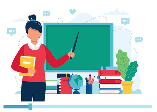 Online learning concept. Female teacher with books and chalkboard, video lesson. Vector illustration in flat style