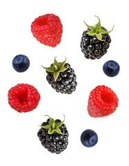 Leinwandbilder - Berries collection. Raspberry, blueberry, blackberry  isolated on white.