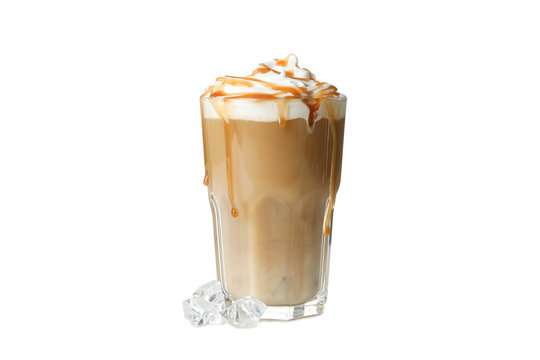 Iced coffee with poured cream isolated on white background