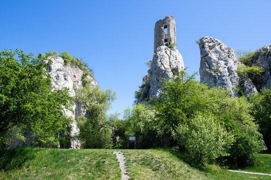 Castle Ruins of Sirotci hradek in Klentice, medieval castle built on the high rock
