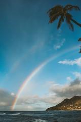 Double Rainbow off Hawaii Beach in Oahu Hawaii