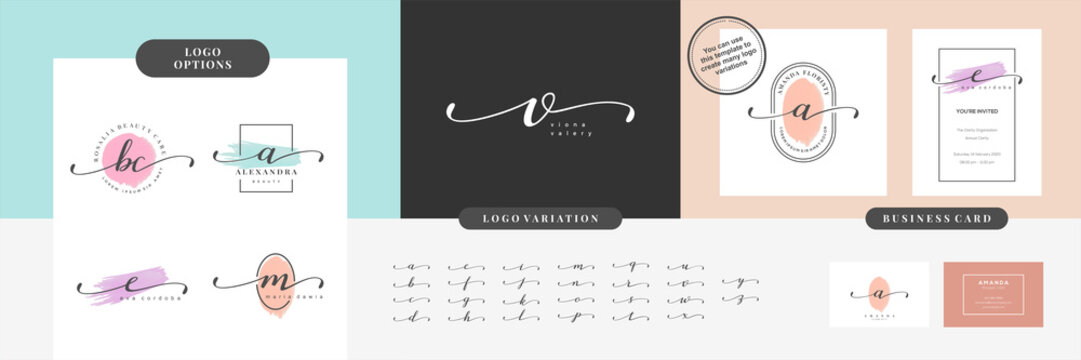 Initials letter alphabet watercolor logo branding set collection, Feminine luxury logo design template - Vector