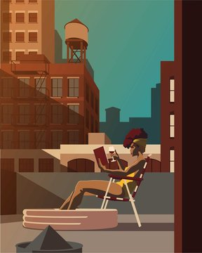 Young woman sunbathing on rooftop while reading a book and drinking a glass of wine