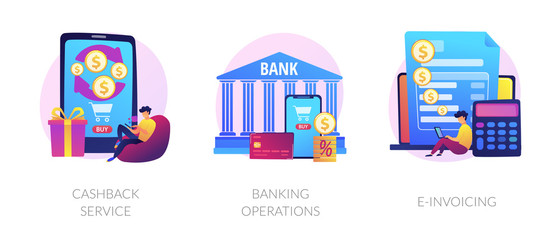 E banking icons set. Return on investment, financial services, internet tax payment. Cashback service, banking operations, e-invoicing metaphors. Vector isolated concept metaphor illustrations