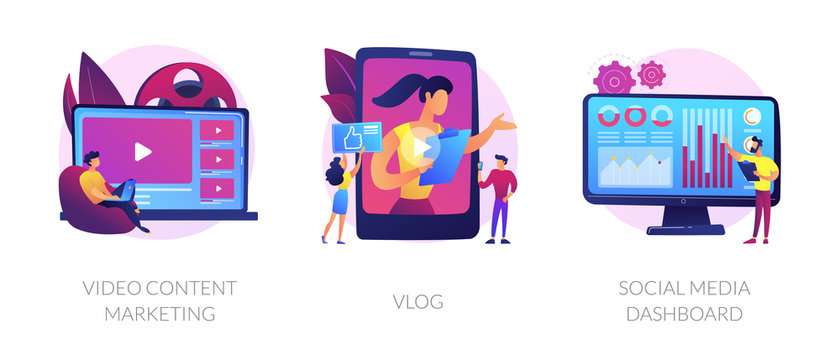 Digital advertising business, online streaming, user statistics analysis icons set. Video content marketing, vlog, social media dashboard metaphors. Vector isolated concept metaphor illustrations