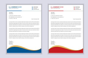 Business Professional Letterhead Template Design With Red And Blue Color Shape