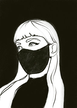 A black and white illustration  of a woman wearing a mask.