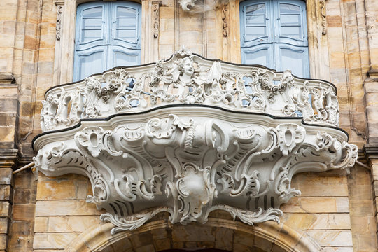 ornamental balcony at a historic building in Bamberg, Germany