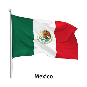 Flag of the United Mexican States in the wind on flagpole, isolated on white background, vector
