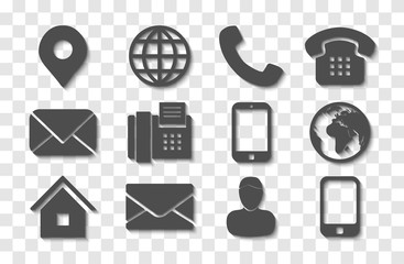 Dark Gray Contact Info Icon Set Shadow
