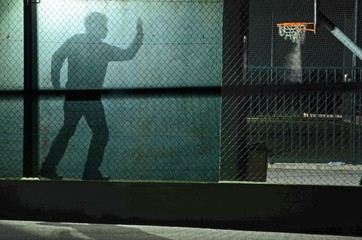Digital Composite Image Of Man Playing Basketball