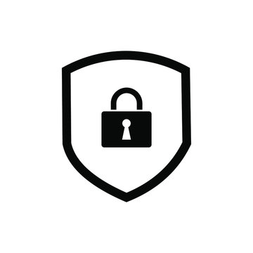 shield protection key icon symbol Flat vector illustration for graphic and web design.