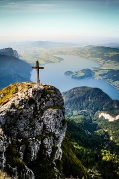 High Angle View Of Cross On Cliff