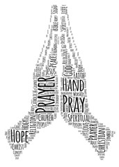 Praying Hands Word Cloud Art Poster Illustration