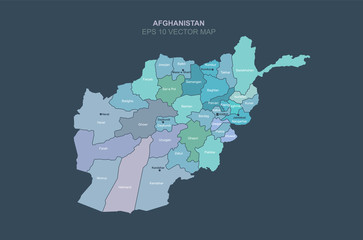 afghanistan map. vector map of afghanistan in central asia country.
