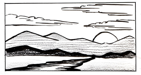 Black and white watercolor landscape. Simple sketch of river floating towards mountain range with sun hiding behind them and cumulus clouds on sky. Hand drawn illustration of summer sunset