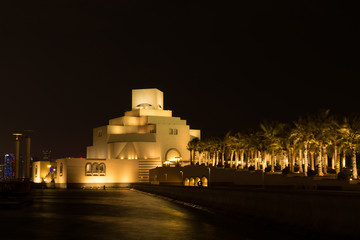 Qatar museum of Islamic arts at night lights