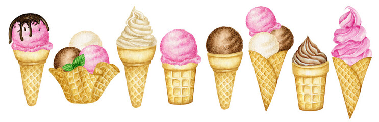 Various ice cream scoops decorated with chocolate in waffle cone. Watercolor illustration isolated assorted balls of vanilla, chocolate, pink strawberry, raspberry ice-cream in waffles Wall mural