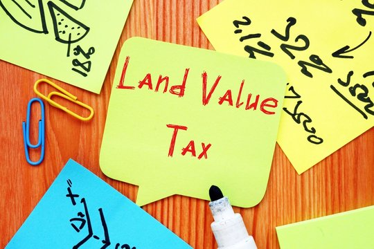 Business concept about Land Value Tax (LVT) with inscription on the sheet.