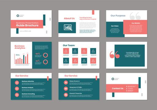 Business Presentation Brochure Guide Design   Powerpoint Slide Template   Sales Guide Slider