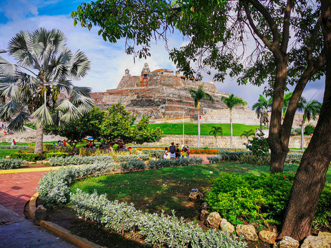 CARTAGENA, COLOMBIA - NOVEMBER 12, 2019: View of the touristic and colorful surroundings of the beach city a tourist attraction of Cartagena, Colombia