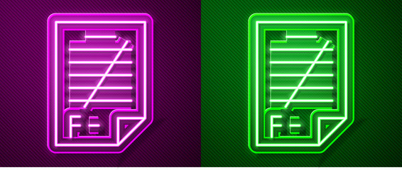 Glowing neon line Exam paper with incorrect answers survey icon isolated on purple and green background. Bad mark of test results. Vector Illustration
