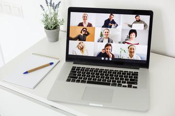 Fototapeta Man Working From Home Having Online Group Videoconference On Laptop obraz