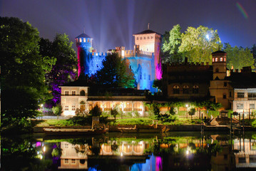 Wall Mural - Turin Valentino Castle reflections on the Po River