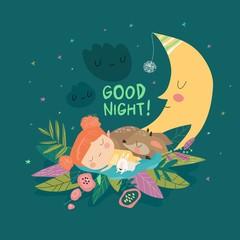 Cute girl sleeping with deer and bunny among the stars