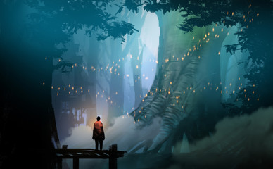 Digital illustration painting design style man standing on the pier against  flyflies and big trees.