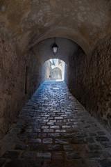 Fototapeta Traunergassl in Duerstein, a Medieval, Old Passageway with Cobblestones in the Wachau Valley, Austria