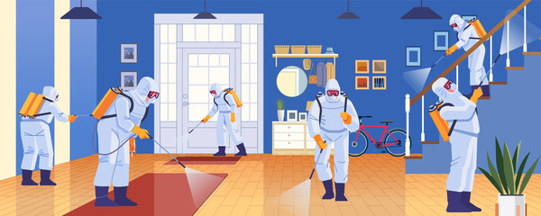 Home disinfection by commercial disinfecting services, surface treatment from pandemic coronavirus. Disinfectant workers wear protective mask and suit sprays covid-19. Vector illustration Wall mural