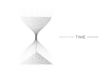 Hourglass from black particles flowing isolated on white background. Vector illustration in concept time, technology, modern