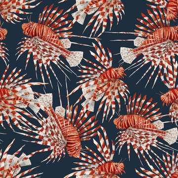 Beautiful vector seamless pattern with watercolor red lionfish. Stock illustration.