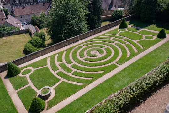 Chartres, France - July 2013: maze garden of the famous  Gothic cathedral of Our Lady of Chartres