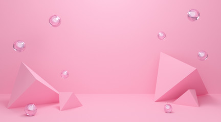 3d pink podium background texture in pastel colors. Abstract geometric shapes with triangle 3d and...