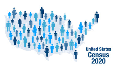 Population map of the United States for the 2020 census