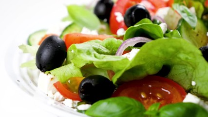 Fototapete - vegetable salad with tomato, olive, cucumber and feta cheese