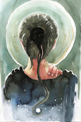 Illustration depicting a woman standing back against the moon.