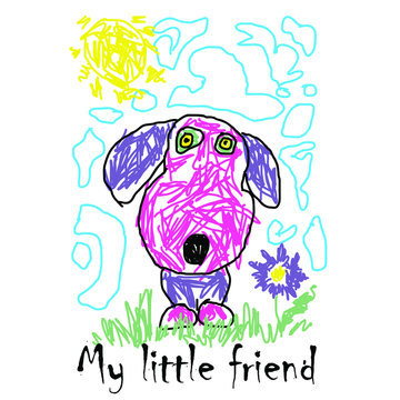 Vector illustration of a children's drawing of a pink doggie. Illustration for t-shirts.