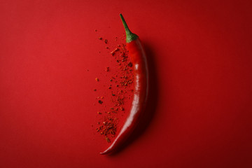 Canvas Prints Hot chili peppers Tasty chilli pepper and powder spice on red background