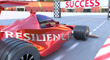 Poster F1 Resilience and success - pictured as word Resilience and a f1 car, to symbolize that Resilience can help achieving success and prosperity in life and business, 3d illustration