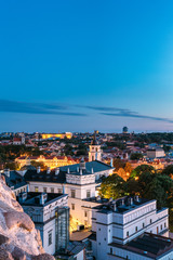 Stores à enrouleur Europe de l Est Vilnius, Lithuania, Eastern Europe. Aerial View Of Historic Center Cityscape In Blue Hour After Sunset. Old Town In Night Illuminations. UNESCO. Palace Of The Grand Dukes Of Lithuania