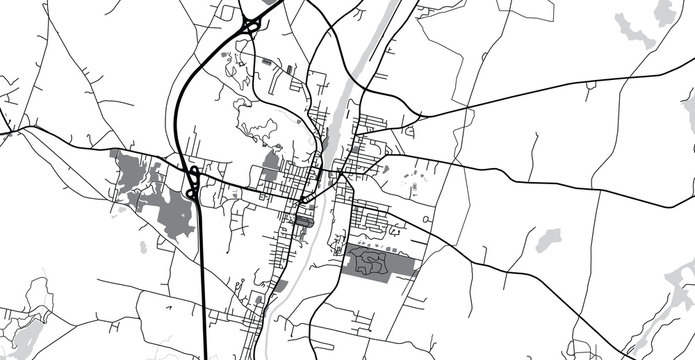 Urban vector city map of Augusta, USA. Maine state capital
