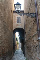Fototapete - Old street of Forli, Emilia Romagna