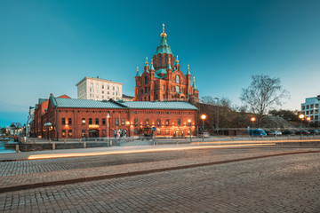 Stores à enrouleur Europe de l Est Helsinki, Finland. Uspenski Cathedral In Evening Illuminations Lights. Eastern Orthodox Cathedral Dedicated To Dormition Of The Theotokos - Virgin Mary